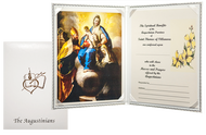 SYMPATHY CARD (DELUXE PADDED) Suggested donation: $25.00 Size: 8.75 x 6.5 This sympathy card features Our Mother of Consolation which has been the principal devotion to Mary within the Augustinian Order since the 17th Century. Its origin among the Augustinians is directly tied to the life of Saints Monica and Augustine.