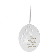 "Pawprints from Heaven Ornament. Pawprints Ornament measures 2 1/2"" W. x 3 1/2"" H. A wonderful memorable ornament of your pet."