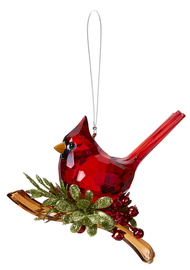 "Classic Cardinal Ornament. Bright Red Cardinal sitting on a branch with holly and berries. Ornament is made of acrylic and measures  4 3/4""W."