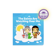"""""""The Saints Are Watching Over Me"""".  In this special book, young readers get the chance to experience the saints in a new and vibrant way. Featured, in order, are: Saint Michael the Archangel, Saint Peter, Saint Mary Magdalene, Saint Juan Diego, Saint John the Baptist, Saint Moses the Black, Saint Thérèse of Lisieux, Saint Florian, Saint George, Saint Joan of Arc, Saint Joseph, Saint Gianna, Saint Kateri Tekakwitha, Saint Francis of Assisi, Saint John Paul II, Saint Teresa of Calcutta, Saint John Bosco, Saint Maria Goretti. Book measures 6"""" x 6"""" ~ 18 pages"""