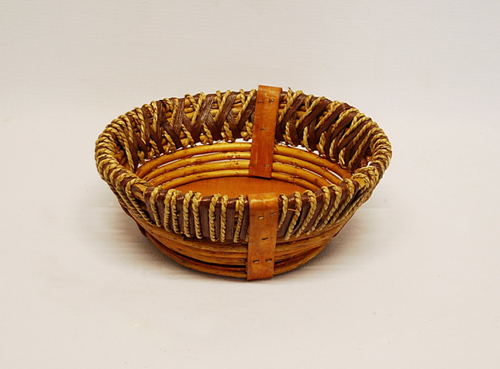 """This basket is a small rustic style round basket. The small rustic basket measures 10"""" dia x 4 """" deep. Lightweight and easy to handle!"""
