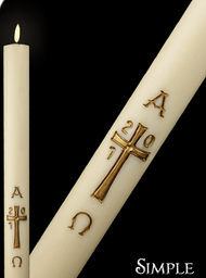 Simple Cross Paschal Candel ~ Candles display outstanding craftsmanship and adherence to the highest standards of design and artistic talent. Many of the paschal candles  have the design embossed into the candle and are then hand painted. No appliques to cause burner hang up. Paschal nails are included with all candles.  17 Sizes to Choose From.  Premium USA Beeswax. Unbleached and Naturally Filtered. Clean and Long Burning. Matching side candles are also available.