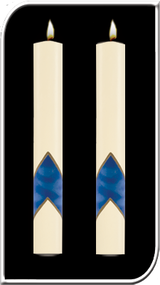 Enhance the presence of your Fos Aionios Paschal Candle with a pair of beautiful complementing 51% Beeswax Altar Candles. Sold as Pair. Available in a variety of lengths and widths, hand made in the USA!!