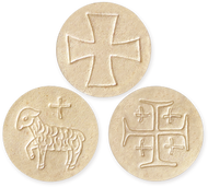 Whole Wheat Altar Bread Specials, Imprinted with Lamb, Jerusalem Cross, & Maltese Cross
