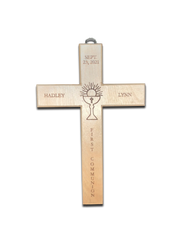 """Personalized 10 1/2"""" x &""""W Solid Oak Wall Cross. Cross is personalized with child's first and middle names, and First Communion date. A Chalice and Host symbol is in engraved in the middle of the cross. Underneath the host and chalice symbol the cross is inscribed with """"First Communion"""".  A hook is attached at the top of the cross for easy hanging. These are special order, please allow 4 weeks for delivery. NON RETURNABLE"""