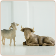 Offering Warmth and Protection ~ the Goat and the Ox.  Their calm demeanor expresses warm attentiveness for the christ child. The tallest figure stands 3.5 inches tall.