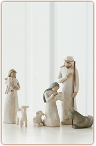 Behold the Awe and Wonder of the Christmas Story. As enduring as the story it portrays, the Willow Tree Nativity Set is as loved today as when it was originally introduced in 2000. It includes Joseph, Mary and Jesus, a shepherdess with lamb, two sheep, and a donkey.  Its simplicity and form has made it a timeless classic. As a Christmas gift, wedding gift or self-purchase, the Willow Tree Nativity continues on as a family tradition. The tallest figure stands 9.5 inches tall.
