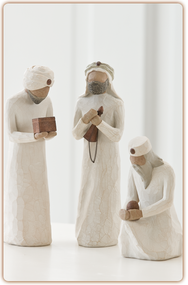 They followed a star and found the Light of the World. The Three Wisemen were created to accompany the classic six-piece Nativity. They dotingly pay homage to the Christ child. The tallest figure stands 8.5 inches tall