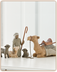 Surrounding New Life with Love and Warmth. This carved four-piece animal set of shepherd, camel, two sheep, and goat, complements the scale of the classic six-piece Nativity. The tallest figure stands 7.5 inches tall.