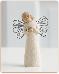This angel brings healing and comfort with care and tenderness to those who need it most.  She cradles a small bird symbolizing comfort, protection, and healing. Figure stands 5 inches tall.