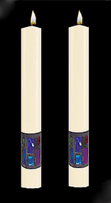 Enhance the presence of your Window of Hope Paschal Candle with a pair of beautiful complementing 51% Beeswax Altar Candles. Available in a variety of lengths and widths, hand made in the USA!!