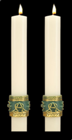 Enhance the presence of your Celtic Imperial Paschal Candle with a pair of beautiful complementing 51% Beeswax Altar Candles. Available in a variety of lengths and widths. Made in the USA!!