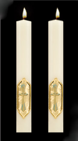 Enhance the presence of your I Am the Vine Paschal Candle with a pair of beautiful complementing 51% Beeswax Altar Candles.  Available in a variety of lengths and widths. Made in the USA!