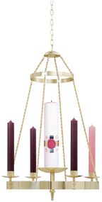 "Hanging Advent Wreath comes in a  Brass two-tone finish. Dimensions are: 36""H, 25""W, with 1-1/2"" sockets. 4 ft. of 1-1/2"" link chain included. Candles sold separately"