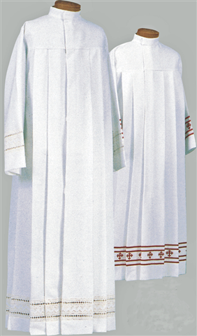 """100% Polyester Medium Weight ~ White Embroidery or  Red Swiss Schiffli Embroidery applied directly to the fabric.  Features: 5 Deep set pleats front and back that wont push out. 28"""" concealed zipper, easy step in and out. Gussets under sleeves assure that the bottom of the alb will drape properly when arms are  raised. Adjustable stand up collar"""
