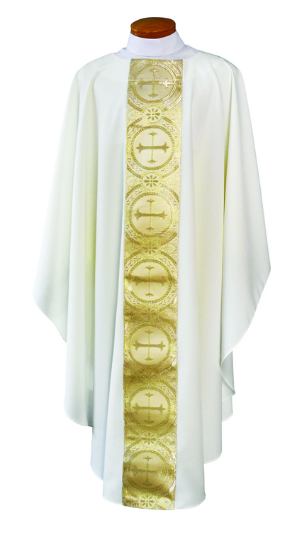 Chasuble ~ 2040 Tailored in a white linen-weave polyester with gold and white satin brocade.