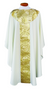 Concelebrant Chasuble ~ 2041  Tailored in a white linen-weave polyester with  gold and white satin brocade.