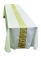 Funeral Or Casket Pall ~ 2048 Tailored in a white linen-weave polyester with gold and white satin brocade.  Made for use with a standard adult size casket.