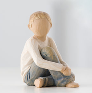 """Caring Child ...nurtured by your loving care.  The Roses in my Garden™ collection of six children represents boys and girls of different ages and personalities. Titles of individual pieces signify universal attributes that we wish for all our children. Children can be grouped with other parent/child figures to create a unique family sculpture. Or individual children can be displayed in the Willow Tree Reliquary.  """"Roses are a universal symbol of love. Like children, they require extra care, patience and hard work from the gardener. But when they bloom, their outstanding combination of intense fragrance, color and beautiful form is worth all the effort."""""""