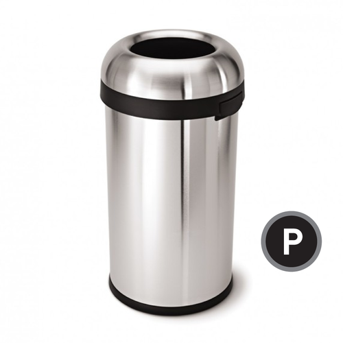 Simplehuman, Bullet Open Trash Can, Stainless Steel, 60-liter (CW1407)