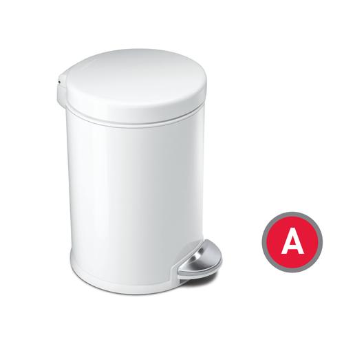 Simplehuman, Mini Round Step Can, White Steel, 4.5-liter (CW1853)