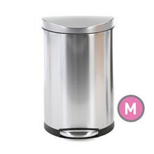 Simplehuman Stainless Steel Semi-Round Step Trash Can, 40 Liter (CW1818), Front