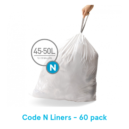 Simplehuman Custom Fit Trash Can Liners, Code N - 60 Pack
