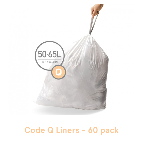 Simplehuman Custom Fit Trash Can Liners, Code Q - 60 Pack