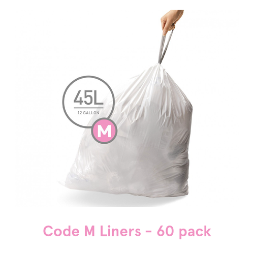 Simplehuman Trash Can Liner, Code M - 60 Pack