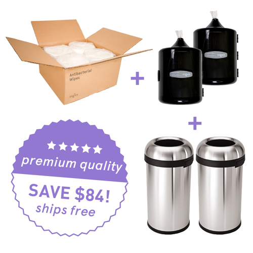 New Club Bundle: Zogics Antibacterial Gym Wipes (4 rolls/case) + 2 Upward Gym Wipes Dispenser + 2 Simplehuman Bullet Open Cans, 60-liter