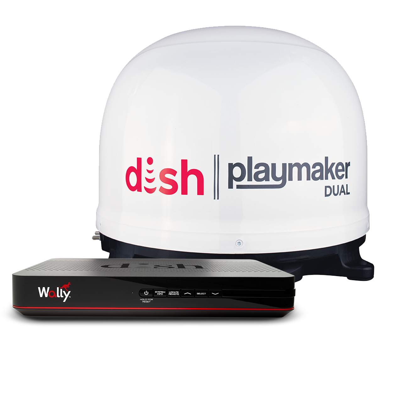 DISH Playmaker Dual Satellite Antenna Bundle with Wally - White