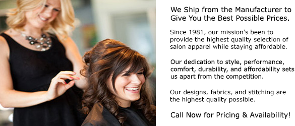 Our salon capes and salon aprons are a big part of our salon wear line.