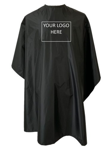 Black chemical cape showing logo position for custom capes