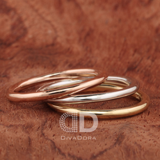 Polished Stacking Ring in 14K Solid Gold