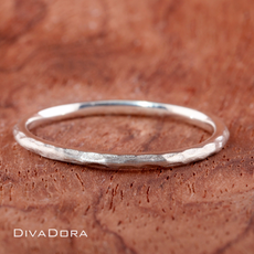 Hammered Stack Ring in Silver 1.5mm