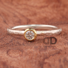 Hammered Stack Silver Ring and Diamond Set in 18K Yellow Gold