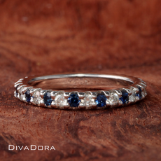 0.48ct Diamond & Sapphire Eternity Ring in 14K White Gold