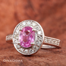 1.41ct Pink Sapphire Oval Cut Engagement Ring in 18K White Gold