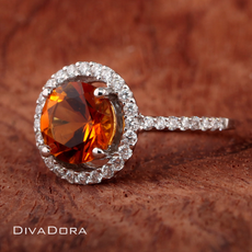 Citrine Engagement Ring in 18K Solid White Gold