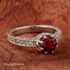 0.97ct Pink Tourmaline Engagement Ring in 18K Solid White Gold