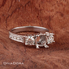 Three-Stone Diamond Engagement Ring Setting in 18K Solid White Gold