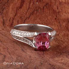 1.61ct Pink Tourmaline Engagement Ring in 14K Solid White Gold