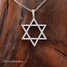 0.83ct Diamond Star of David Pendant in 18K Solid White Gold