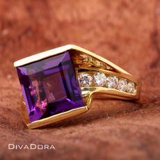 Square Amethyst & Diamond Ring in 18K Solid Yellow Gold