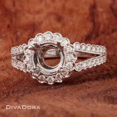 Antique Style Diamond Halo Engagement Ring with Split-Shank in 18K White Gold