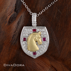 St. George Cross Shield Pendant with Horse Profile Featuring Diamonds and Rubies in 18K White Gold