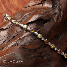 Yellow Sapphire Citrine and Diamond Tennis Bracelet in 14K White Gold