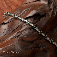 Tsavorite & Diamond Tennis Bracelet in 14K White Gold