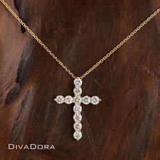 Diamond Cross Pendant / Necklace in 14K Solid Yellow Gold