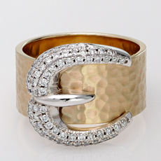 14K Yellow Gold Hammered Finish Diamond Buckle Ring